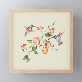 hummingbirds & morning glories Framed Mini Art Print