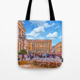 People in Nice Plaza with Fountain Tote Bag