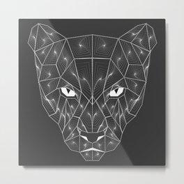 Panther Puma Black Zentangle Metal Print