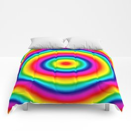 Psychedelic Rainbow Circles Pattern  Comforters