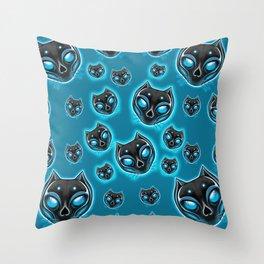 Cute Skulls Black Cat Throw Pillow