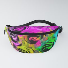 rose texture abstract  with colorful painting abstract background in pink blue yellow green Fanny Pack