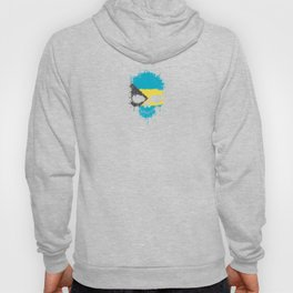 Flag of Bahamas on a Chaotic Splatter Skull Hoody