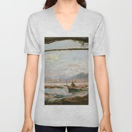 Johan Christian Dahl - View From A Grotto Near Posillipo - Digital Remastered Edition Unisex V-Neck