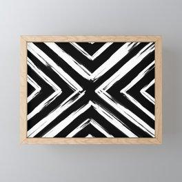 Minimalistic Black and White Paint Brush Triangle Diamond Pattern Framed Mini Art Print