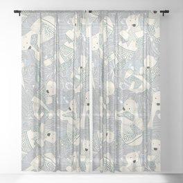arctic polar bears silver Sheer Curtain