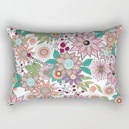 Stylish floral doodles vibrant design Rectangular Pillow