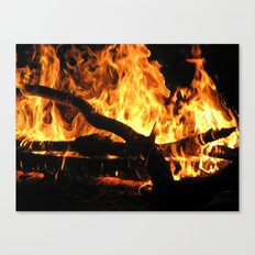 Camp fire at night Canvas Print