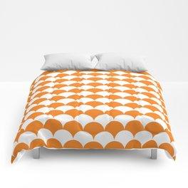 Orange Fan Shell Pattern Comforters
