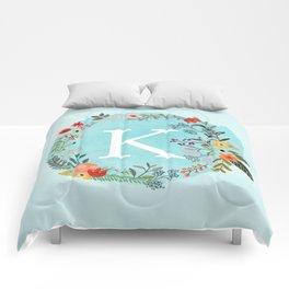 Personalized Monogram Initial Letter K Blue Watercolor Flower Wreath Artwork Comforters