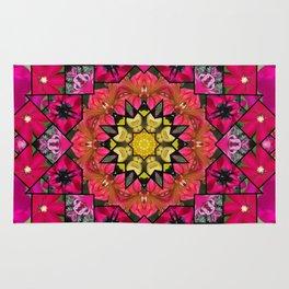 Garden mosaic kaleidoscope mandala - magenta, red, coral and gold 3 Rug