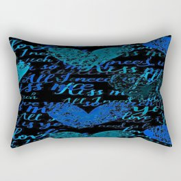 Kiss Me, Miss me Blue Rectangular Pillow