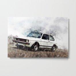 Golf I GTI White Metal Print