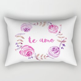 Te Amo - Pink Watercolor Floral Wreath 'I love you' in Spanish Rectangular Pillow