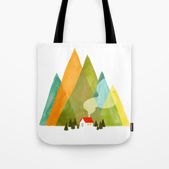 House at the foot of the mountains Tote Bag