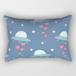 cute cartoon colorful ufo with hearts pattern Rectangular Pillow