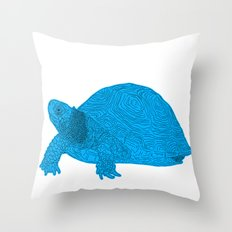 Turtle Illustration Blue Throw Pillow
