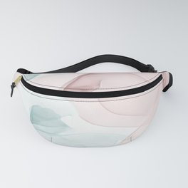 Blush and Blue Flowing Abstract Painting Fanny Pack