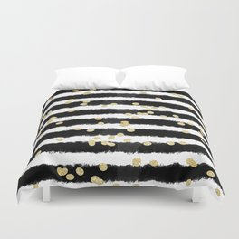 Modern black watercolor stripes chic gold confetti Duvet Cover