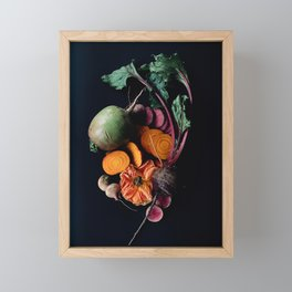 Moody Root Vegetables and Rose Framed Mini Art Print