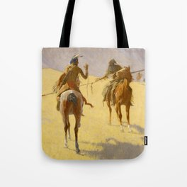 """Frederic Remington Western Art """"The Parley"""" Tote Bag"""