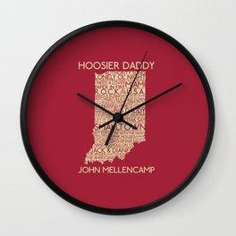 Hoosier Daddy, John Mellencamp, Indiana map art Wall Clock