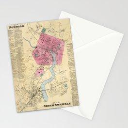 Vintage Map of Norwalk CT (1867) Stationery Cards