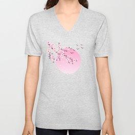 Japanese Cherry Blossom Pink Unisex V-Neck