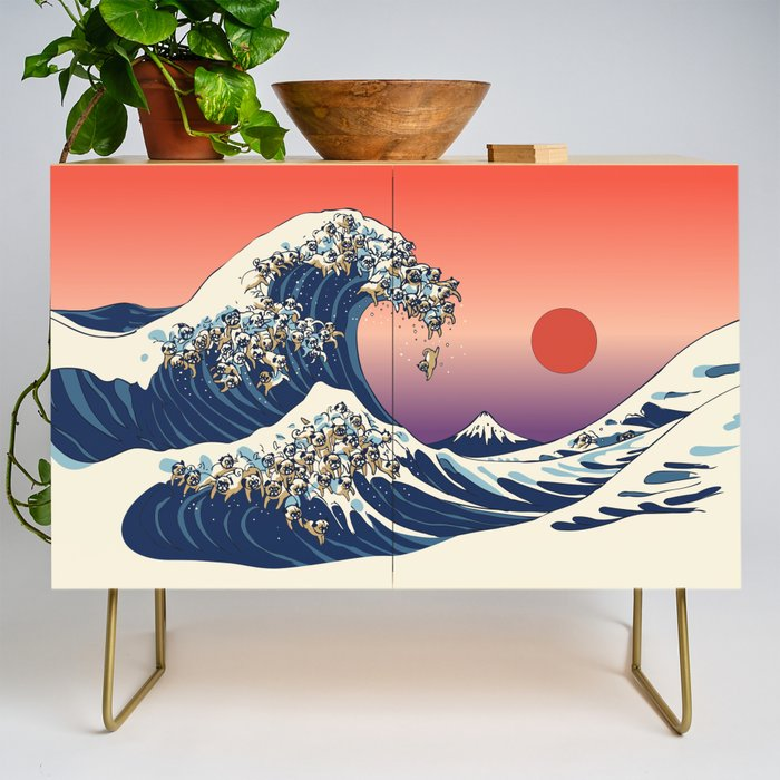 The Great Wave of Pug Credenza