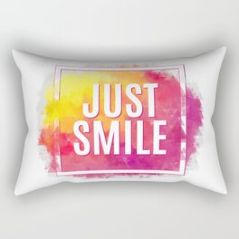 Just Smile motivation square watercolor stroke poster. Text lettering of an inspirational saying. Qu Rectangular Pillow