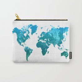 Green watercolor world map Carry-All Pouch