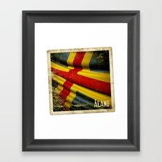 Grunge sticker of Aland Islands flag Framed Art Print