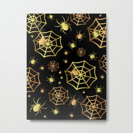 Spiders In Gold Metal Print
