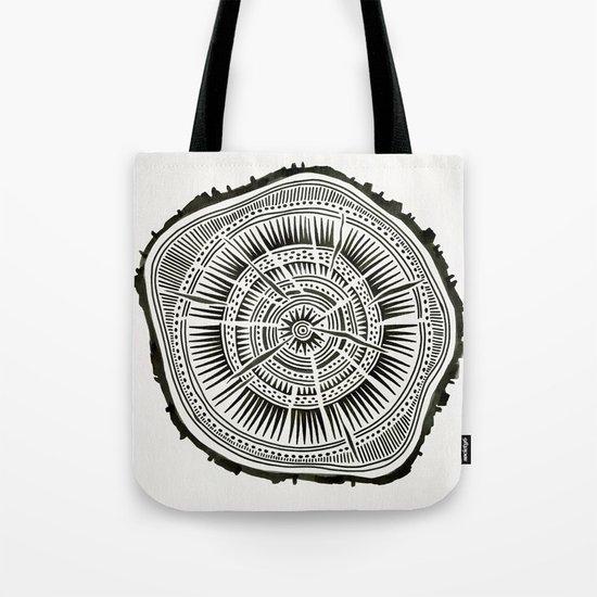 Paper Birch – Black Tree Rings Tote Bag