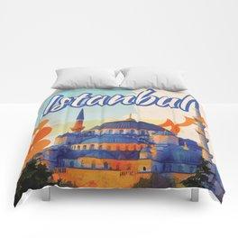 Istanbul Aya Sophia Mosque vintage travel poster Comforters