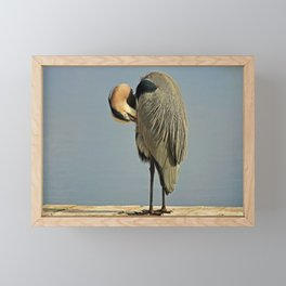Heron Having a Bath II Framed Mini Art Print