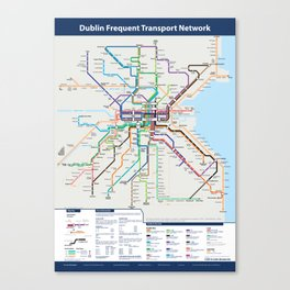 Dublin Frequent Transport Map V10 Canvas Print