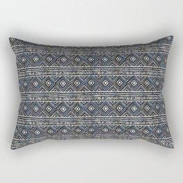 African Tribal Blockprint // Navy & Eggshell Rectangular Pillow