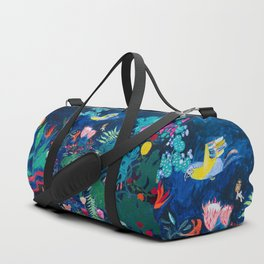 Brightly Rainbow Tropical Jungle Mural with Birds and Tiny Big Cats Duffle Bag