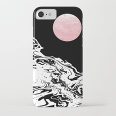 Downing - ocean sunset eclipse stars planets galaxy space abstract art swirl waves surf pink black  iPhone 7 Slim Case