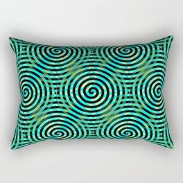 Blue Green Spirals Pattern Rectangular Pillow