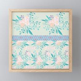 Shabby Chic Mint Floral Framed Mini Art Print