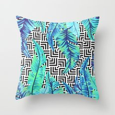 turquoise tropical leaves Throw Pillow