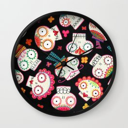 Sugar Skulls and Flowers Wall Clock