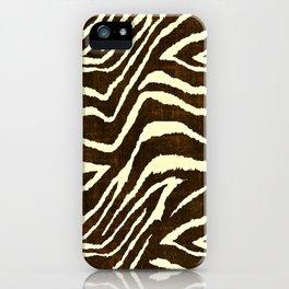 Animal Print Zebra in Winter Brown and Beige iPhone Case