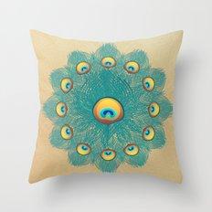 Mandala Peacock Throw Pillow