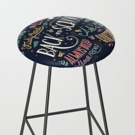 Back to school colorful typography drawing on blackboard with motivational messages, hand lettering Bar Stool