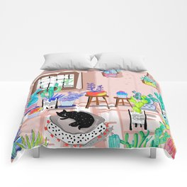 cat in my room illustration 1 Comforters