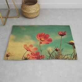 Windy Day Wildflowers - Kitschy Nature Print Aged, Grungy Rug
