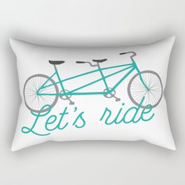 Let's Ride Tandem Bicycle - Teal Rectangular Pillow